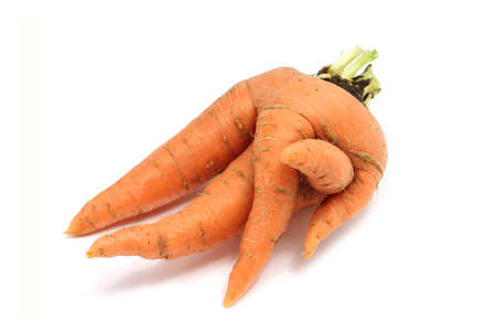 fused: fused orange carrot on a white background Stock Photo
