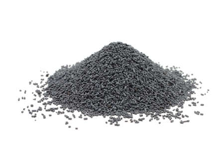 catalyst: handful of gray catalyst pellets on a white background Stock Photo