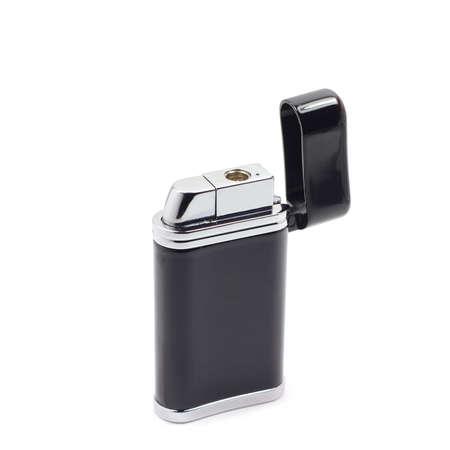 butane: Black gas lighter on a white background