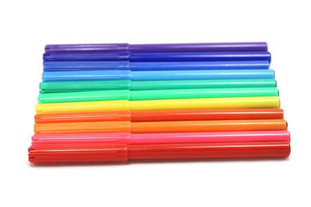 office appliances: small colored felt-tip pens on a white background Stock Photo