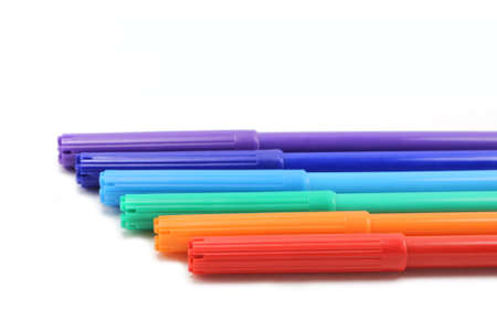 office appliances: set of colored markers on white background
