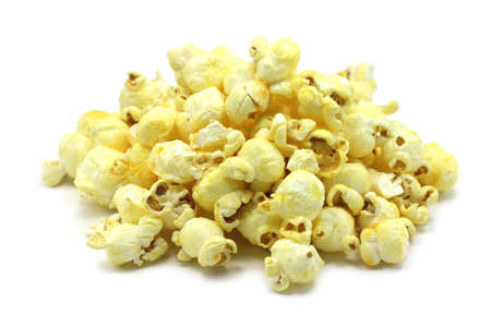 slightly popcorn on a white background