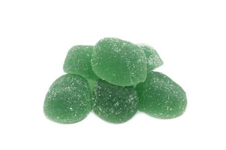 fruit jellies on white background