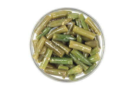 pods of green beans on white background