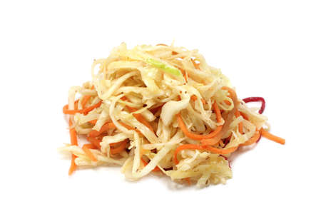 salad of pickled cabbage on a white background