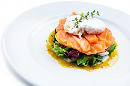 Salmon salad isolated on white Stock Photo