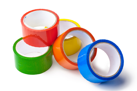 colored tape in large rolls Stock Photo