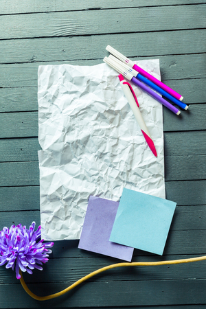 crumpled sheet of paper and pencil Stock Photo