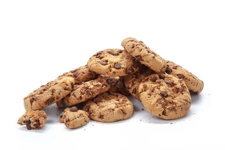 brocken: Chocolate chip cookie on white