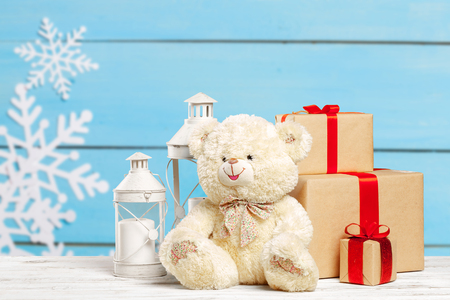pile of gifts on the old table Stock Photo