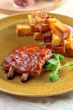 Close up view of barbecue ribs Stock Photo