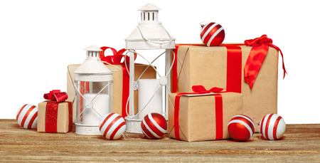 multiple: pile of gifts on the old table Stock Photo