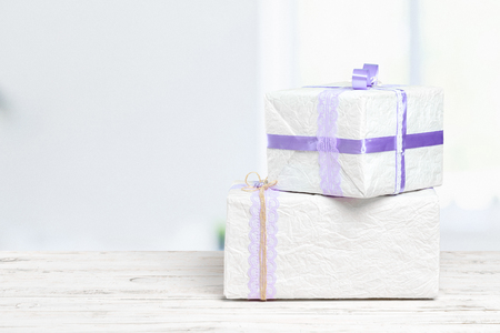 gift box on white table