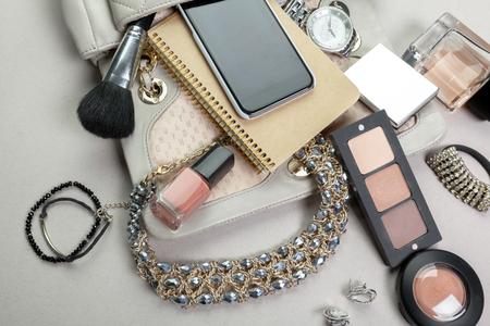 silver screen: View on women bag stuff Stock Photo