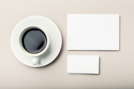 envelope: Blank card with coffee cup with space Stock Photo