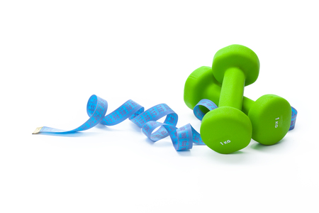 Fitness equipment. Healthy food. dumbbells