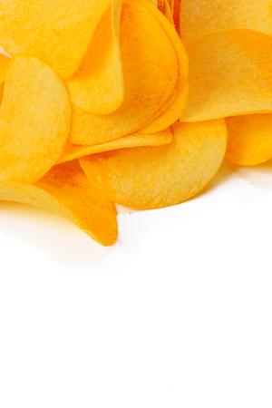 grasas saturadas: potato chips isolated on white background