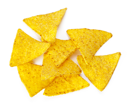 corn nachos on white background