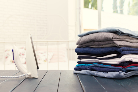 stool: Stack of  clothes Stock Photo