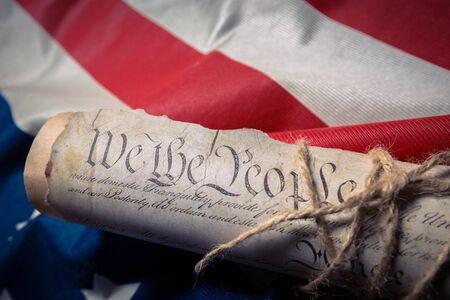 United States Declaration of Independence on a Betsy Ross flag Reklamní fotografie - 77064692