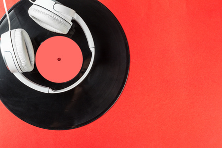 soundtrack: record on a red background Stock Photo