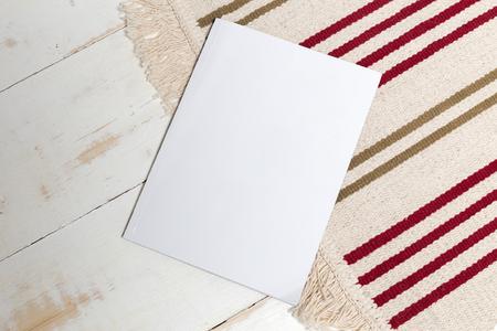 wood floor: Mock up, photo paper, white sheet Stock Photo
