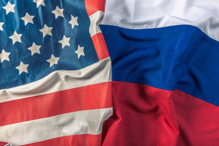 Usa flag and Russia flag Stock Photo