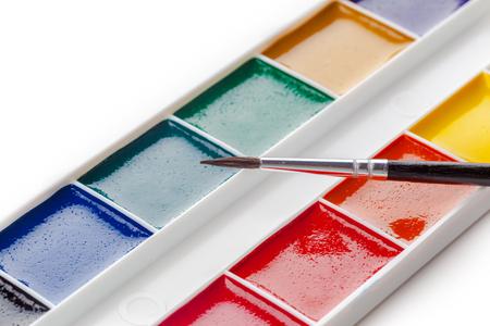 Set of watercolor paints Stock Photo