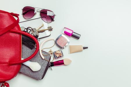 Contents of woman's bag Standard-Bild