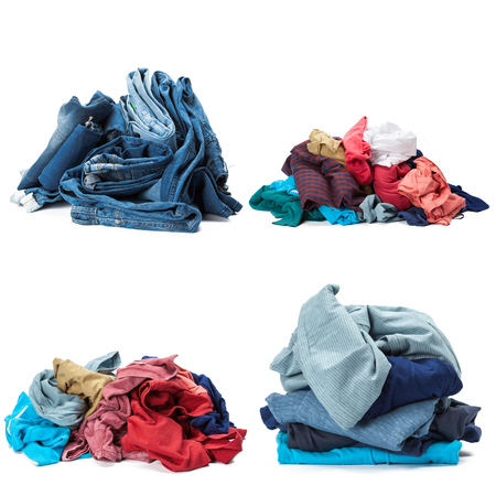 legs folded: Stack of clothes isolated on white background Stock Photo