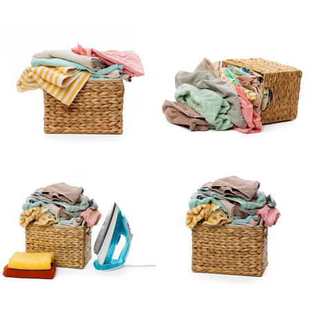 warm cloth: Clothes in a laundry wooden basket isolated on white background. collage