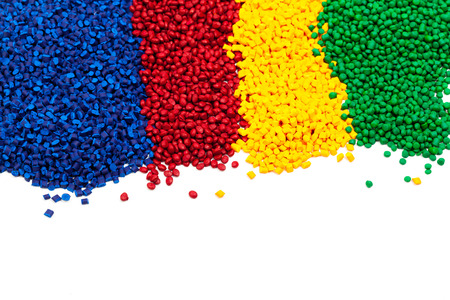 tinted plastic granulate for injection moulding process Banque d'images