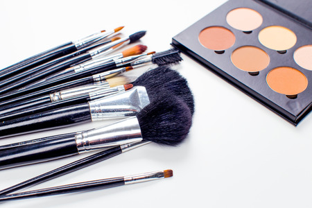 vanity bag: Decorative cosmetics isolated over white background. make up supplies