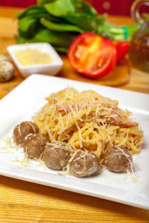 marinara sauce: Spaghetti pasta with meatballs Stock Photo
