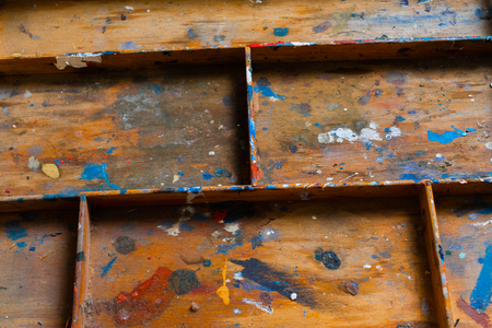 sectioned: Partitioned wooden shelf