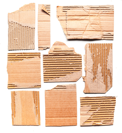 ridged: cardboard pieces isolated on white background Stock Photo
