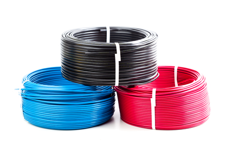 set colored electric cable on white background Stock Photo - 77052900
