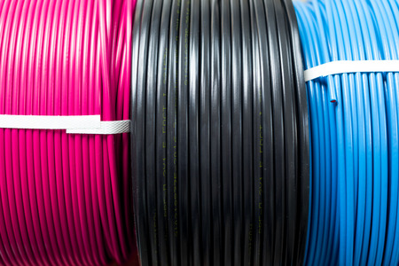 set colored electric cable Stok Fotoğraf