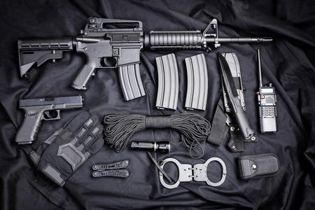 m16 ammo: modern weapon, black background Stock Photo