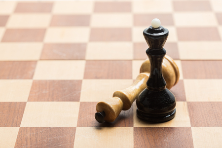 Chess pieces set on a chessboard Stock Photo
