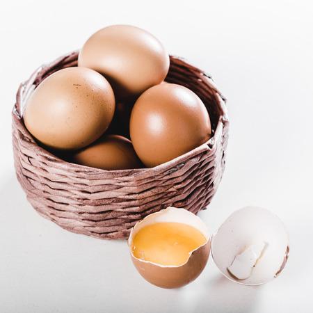 duck egg: Easter egg in a basket Stock Photo