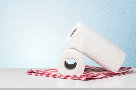 White paper towel on a white table Stock Photo