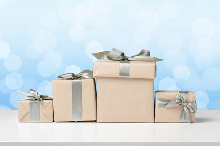 gift boxes on white table Stock Photo