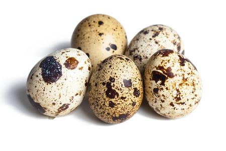 흰 배경에 고립 된 메추라기 달걀 스톡 콘텐츠