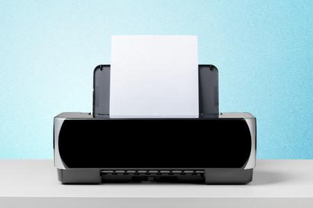 ink jet: Printer on white desk Stock Photo