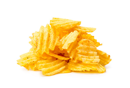 yellow potato chips isolated on white