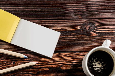 Blank book or magazine cover on wood background Stock Photo
