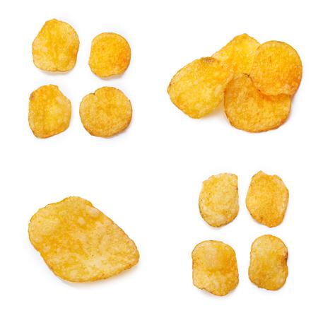 Collage of tasty potato chips Stock Photo