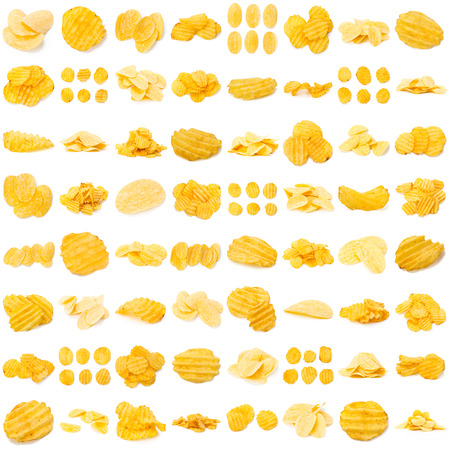 Collage of tasty potato chips Stock Photo