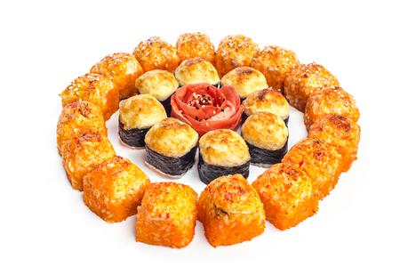 philadelphia: sushi set on white background